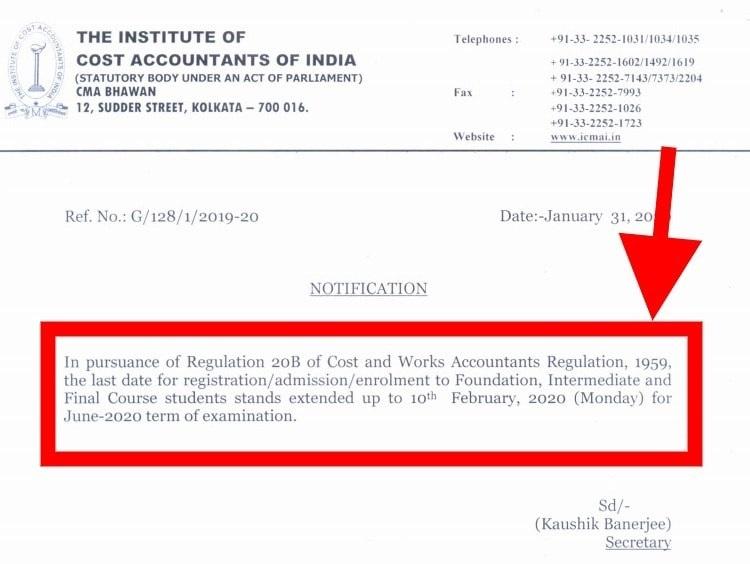 Registration Date Extension Notice
